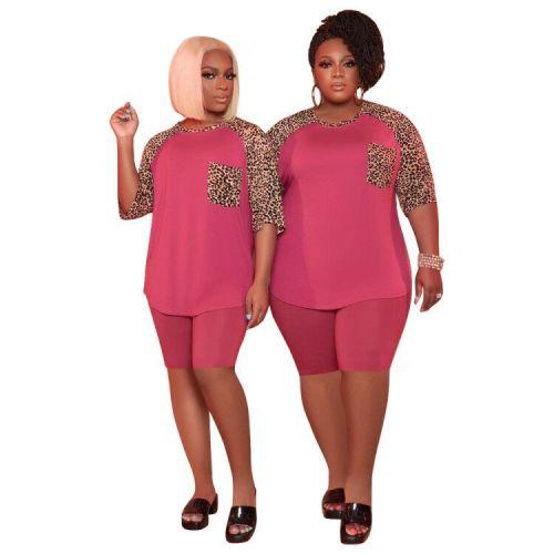 Plus Size Leopard Patchwork Pink Two Piece Biker Short Set