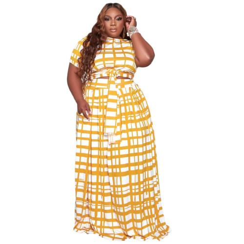 Plus Size Yellow Grid Print Two Piece Long Skirt Set