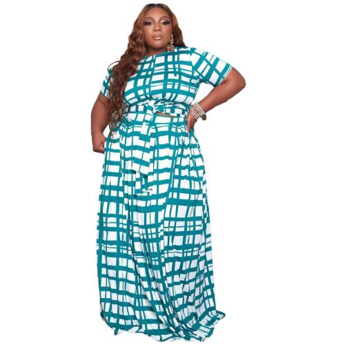 Plus Size Blue Grid Print Two Piece Long Skirt Set