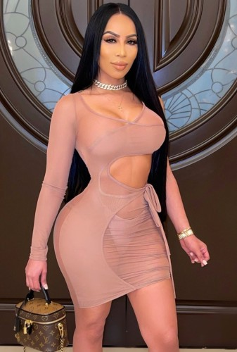 See Through Beige Cut Out Mini Bodycon Dress with Single Sleeve