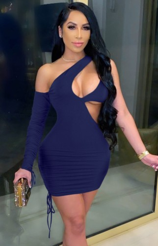Dark Blue Sexy Cut Out One Shoulder Drawstrings Single Sleeve Bodycon Dress