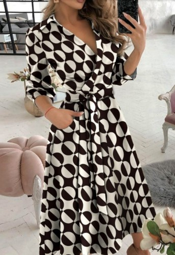 Trendy Contrast Print Collar Wrap Skater Dress with 3/4 Sleeves