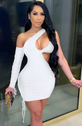 White Sexy Cut Out One Shoulder Drawstrings Single Sleeve Bodycon Dress