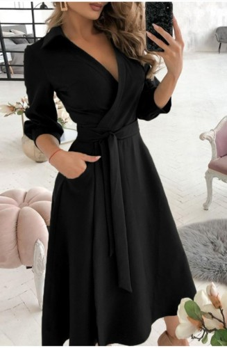 Trendy Black Collar Wrap Skater Dress with 3/4 Sleeves