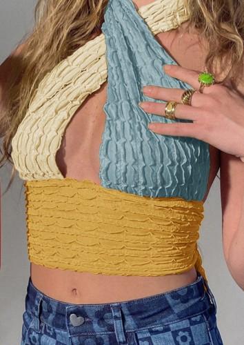 Color Block Sexy Cross Neck Halter Crop Top
