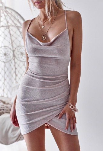 Sexy Metallic Wrap Cami Mini Dress