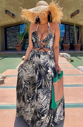 Print Black High Slit Halter Chiffon Resort Maxi Dress