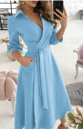 Trendy Blue Collar Wrap Skater Dress with 3/4 Sleeves