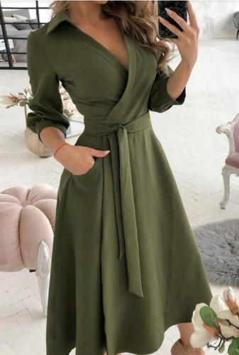 Trendy Army Green Collar Wrap Skater Dress with 3/4 Sleeves