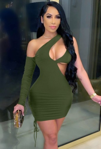 Army Green Sexy Cut Out One Shoulder Drawstrings Single Sleeve Bodycon Dress