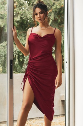 Burgunry Silky Multi-Way Cami Long Party Dress