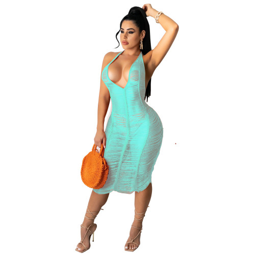 Light Blue Hollow Out See Through Ripped Halter Beach Dress Cover Up