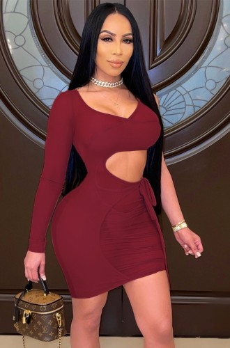 See Through Red Cut Out Mini Bodycon Dress with Single Sleeve
