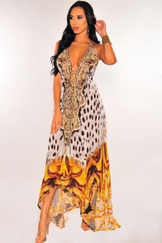 Print Halter Backless Deep-V High Low Sexy Maxi Dress