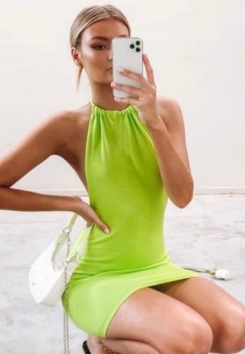 Green Sexy Halter Backless Knitted Mini Dress
