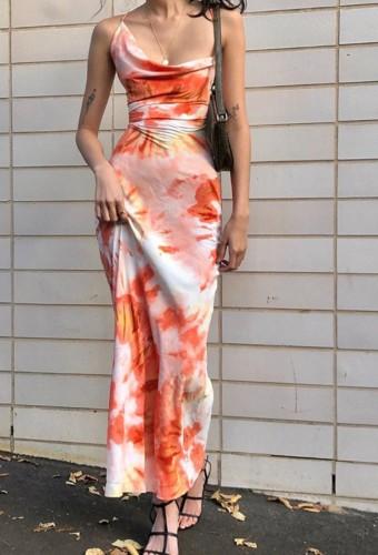 Hot Sale Tie Dye Open Back Cami Maxi Dress