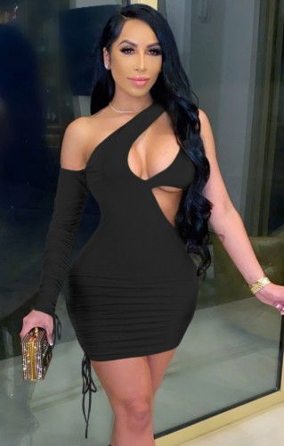 Black Sexy Cut Out One Shoulder Drawstrings Single Sleeve Bodycon Dress