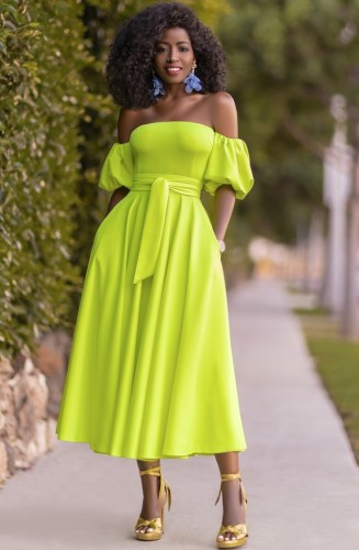 Fashion Neon Green Strapless Elegant Long Dress