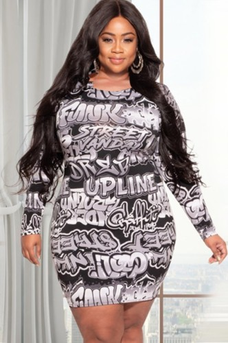 Plus Size All Over Print Black Long Sleeve Bodycon Dress