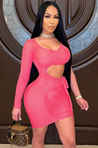 See Through Pink Cut Out Mini Bodycon Dress with Single Sleeve