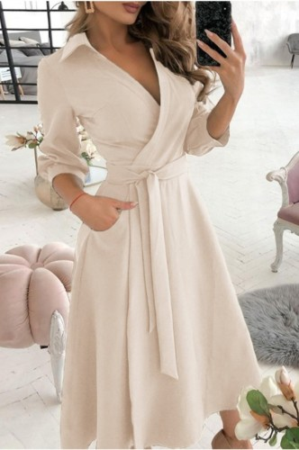 Trendy Beige Collar Wrap Skater Dress with 3/4 Sleeves