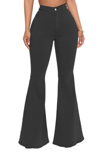 Black High Waist Bell Bottom Jeans