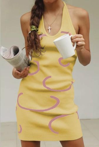 Halter Low Back Knitting Mini Tank Dress