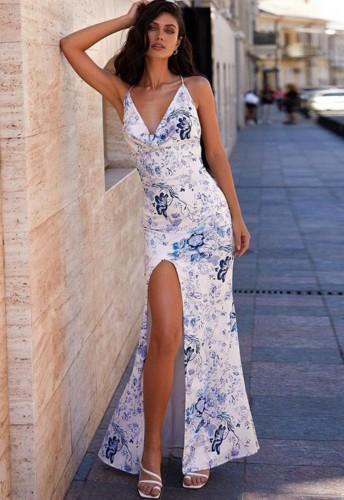 Print V-Neck Side Slit Strap Cross Back Maxi Dress
