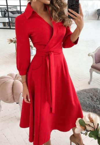 Trendy Red Collar Wrap Skater Dress with 3/4 Sleeves