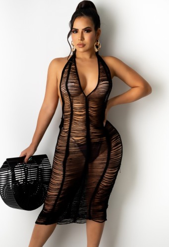 Hollow Out See Through Ripped Halter Beach Dress Cover Up