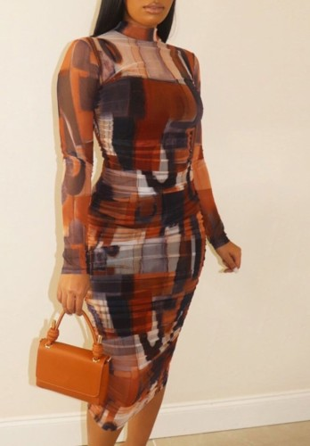 Plus Size Long Sleeve Colorful Print Midi Dress