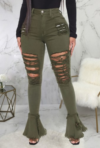 Green High Waist Ripped Flare Jeans
