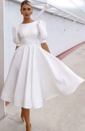 White Puff Sleeve Fit and Flare Prom Dress