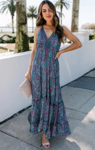 Print Boho Halter Sexy Maxi Dress