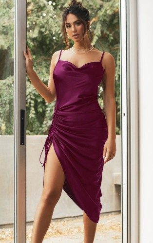 Purple Silky Multi-Way Cami Long Party Dress