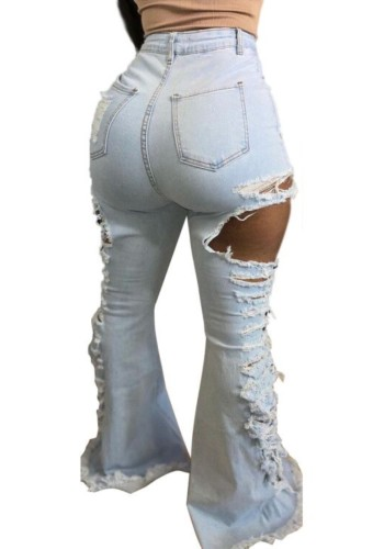 Tendy Light Blue Ripped High Waist Bell Bottom Denim Jeans