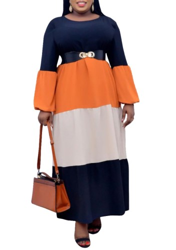 Plus Size Contrast Long Sleeves Maxi Dress