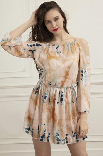 Casual Tie Dye Cold Shoulder 3/4 Sleeve Short Dress