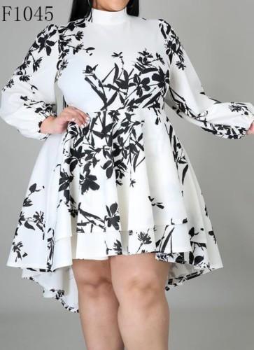 Plus Size Print White High Low Mock Neck Long Sleeve Dress