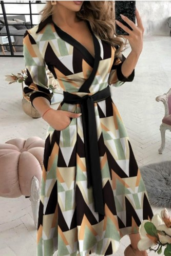 Trendy Geommetric Print Collar Wrap Skater Dress with 3/4 Sleeves