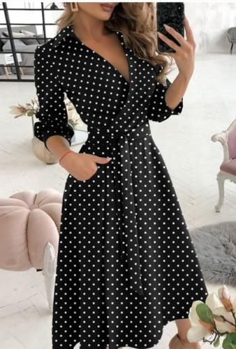 Trendy Dot Print Collar Wrap Skater Dress with 3/4 Sleeves