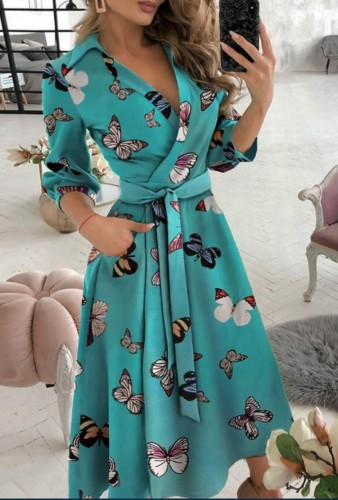 Trendy Butterfly Print Collar Wrap Skater Dress with 3/4 Sleeves