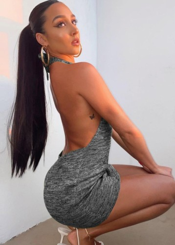 Grey & Black Sexy Halter Backless Knitted Mini Dress