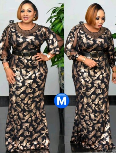 Plus Size African Style Print Long Dress with 3/4 Sleeves
