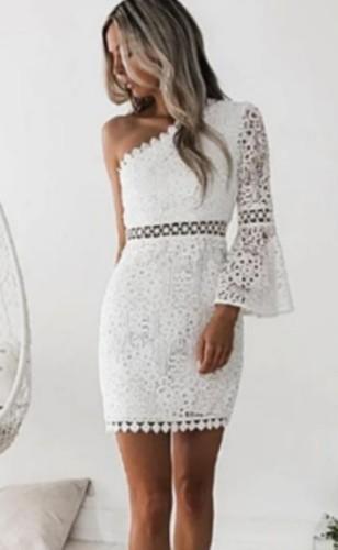 White Lace One Shoulder Flare Cuff Mini Dress