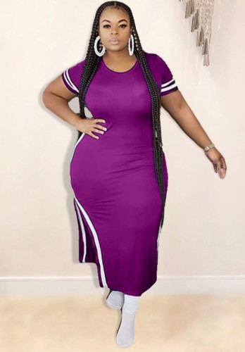 Plus Size Slit Long Dress with Side Stripes