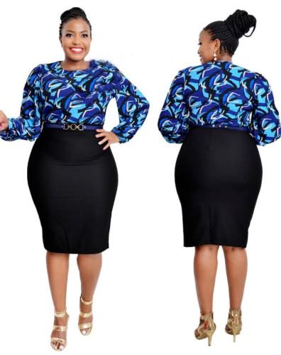 Plus Size Afircan Style Print Long Sleeve Midi Dress