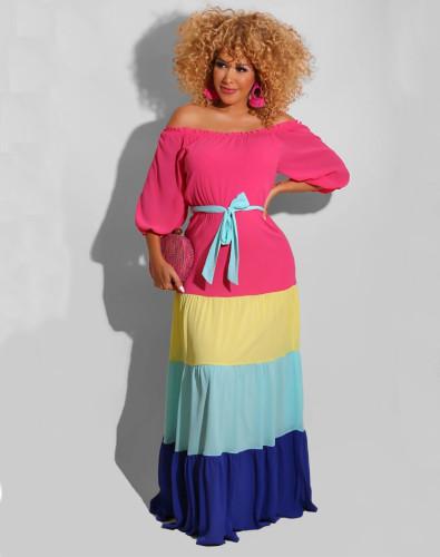 Color Block Off Shoulder Half Sleeve Maxi Dress