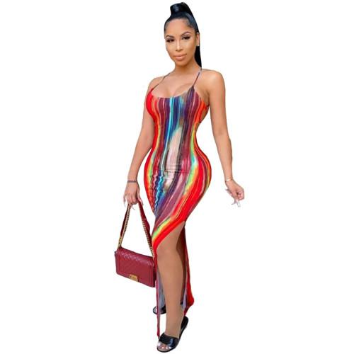 Print Strappy Back Sexy Slit Maxi Dress