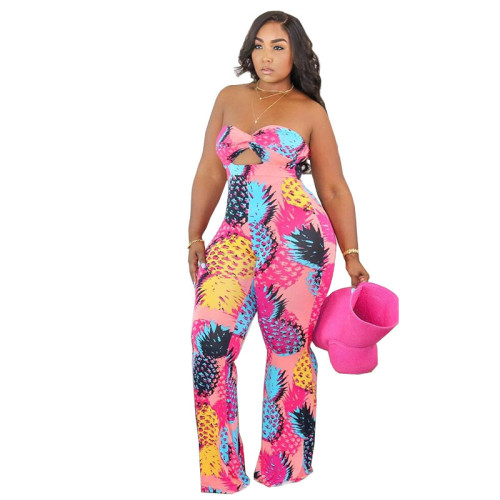Plus Size Pineapple Print Cut Out Sexy Strapless Jumpsuit